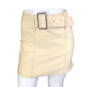 Joe Benbasset Tan Mini Skirt Wide Belt Stretch 7/8